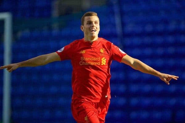 BIRKENHEAD, ENGLAND - Sunday, October 23, 2016: Liverpool's Brooks Lennon celebrates scoring the first goal against Everton during the Mini-Derby FA Premier League 2 Under-23 match at Prenton Park. (Pic by David Rawcliffe/Propaganda)