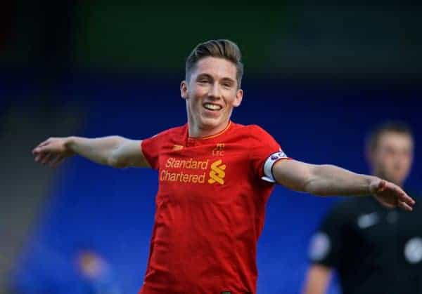 Liverpool's captain Harry Wilson celebrates scoring the second goal against Everton during the Mini-Derby FA Premier League 2 Under-23 match at Prenton Park. (Pic by David Rawcliffe/Propaganda)
