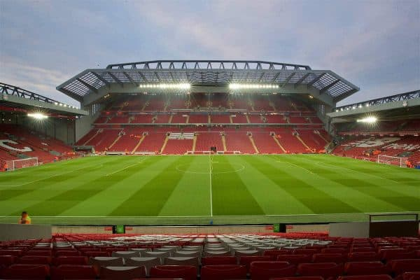LIVERPOOL, ENGLAND - Tuesday, October 25, 2016: A general view of Liverpool's Anfield stadium an new Main Stand before the Football League Cup 4th Round match between Liverpool and Tottenham Hotspur. (Pic by David Rawcliffe/Propaganda)