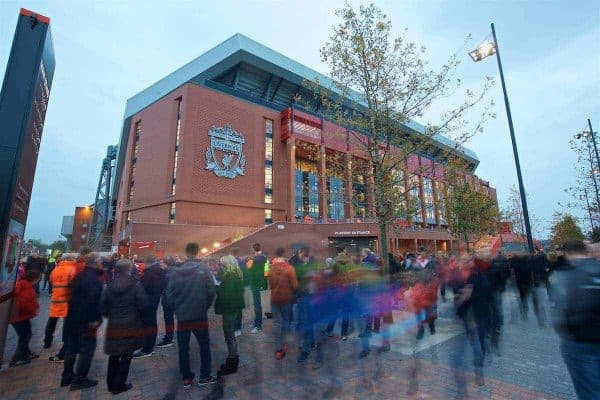 LIVERPOOL, ENGLAND - Tuesday, October 25, 2016: An exterior view of Anfield new Main Stand. General (Pic by David Rawcliffe/Propaganda)