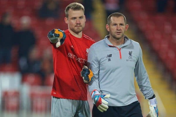 LIVERPOOL, ENGLAND - Tuesday, October 25, 2016: Liverpool's goalkeeper Simon Mignolet warms up with goalkeeping coach John Achterberg before the Football League Cup 4th Round match against Tottenham Hotspur at Anfield. (Pic by David Rawcliffe/Propaganda)