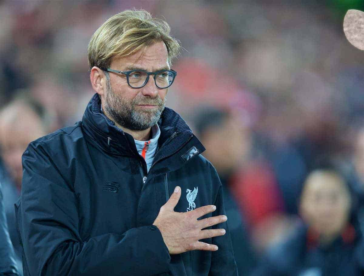 LIVERPOOL, ENGLAND - Tuesday, October 25, 2016: Liverpool's manager Jürgen Klopp before the Football League Cup 4th Round match against Tottenham Hotspur at Anfield. (Pic by David Rawcliffe/Propaganda)