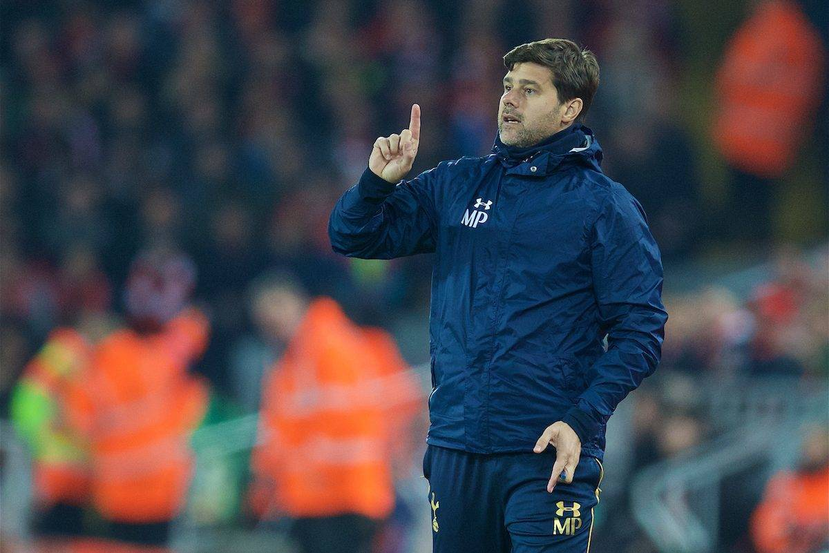 LIVERPOOL, ENGLAND - Tuesday, October 25, 2016: Tottenham Hotspur's manager Mauricio Pochettino during the Football League Cup 4th Round match against Liverpool at Anfield. (Pic by David Rawcliffe/Propaganda)