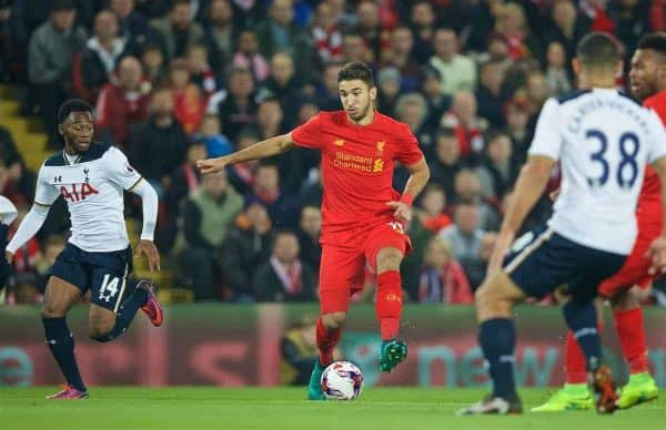 LIVERPOOL, ENGLAND - Tuesday, October 25, 2016: Liverpool's Marko Grujic in action against Tottenham Hotspur during the Football League Cup 4th Round match at Anfield. (Pic by David Rawcliffe/Propaganda)