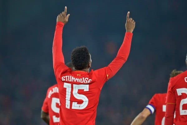 LIVERPOOL, ENGLAND - Tuesday, October 25, 2016: Liverpool's Daniel Sturridge celebrates scoring the first goal against Tottenham Hotspur during the Football League Cup 4th Round match at Anfield. (Pic by David Rawcliffe/Propaganda)