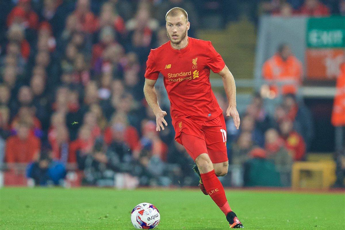 LIVERPOOL, ENGLAND - Tuesday, October 25, 2016: Liverpool's Ragnar Klavan in action against Tottenham Hotspur during the Football League Cup 4th Round match at Anfield. (Pic by David Rawcliffe/Propaganda)