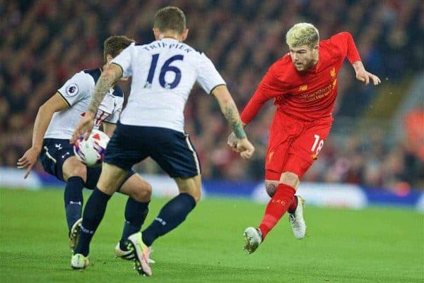 LIVERPOOL, ENGLAND - Tuesday, October 25, 2016: Liverpool's Alberto Moreno in action against Tottenham Hotspur during the Football League Cup 4th Round match at Anfield. (Pic by David Rawcliffe/Propaganda)