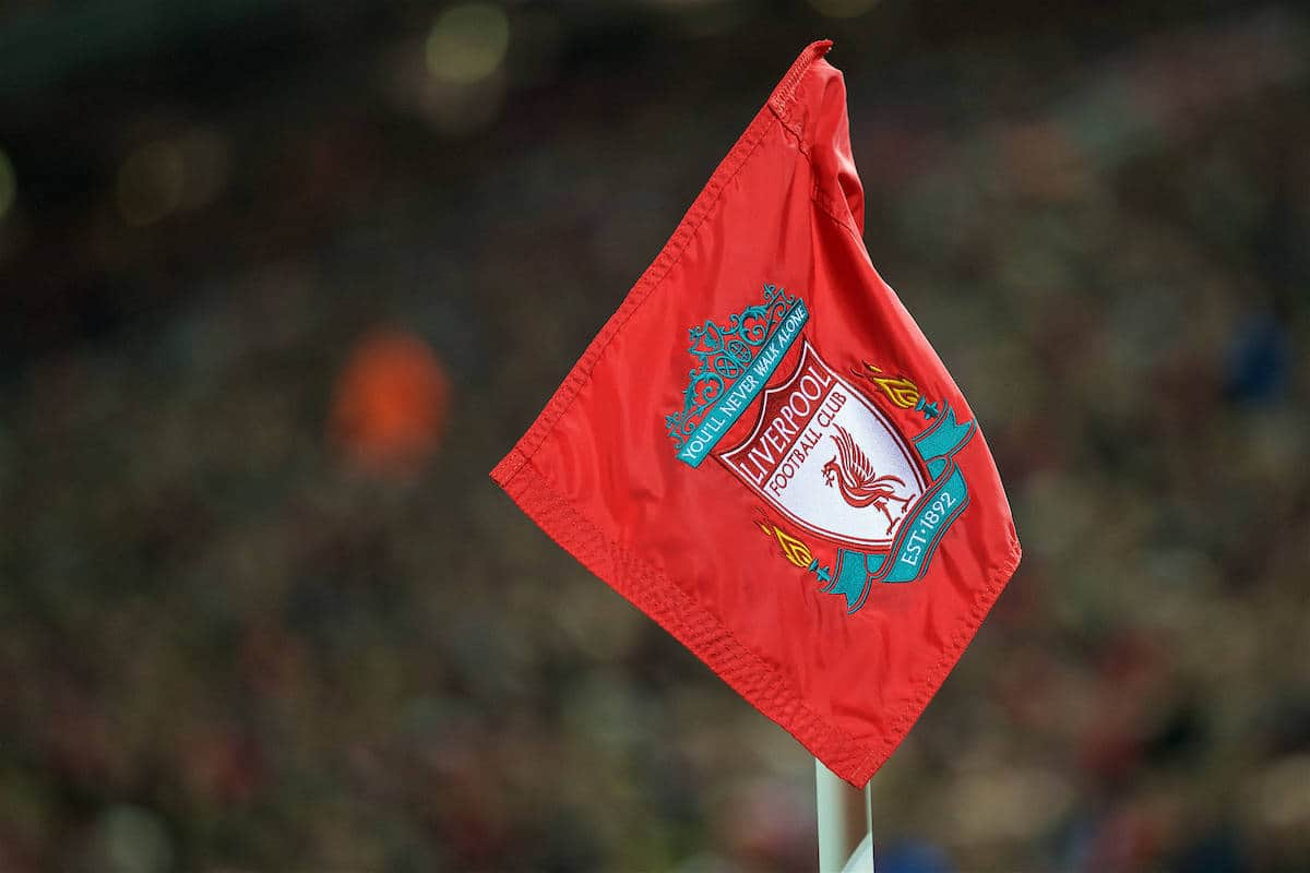 LIVERPOOL, ENGLAND - Tuesday, October 25, 2016: Red corner flags during the Football League Cup 4th Round match between Liverpool and Tottenham Hotspur at Anfield. (Pic by David Rawcliffe/Propaganda)