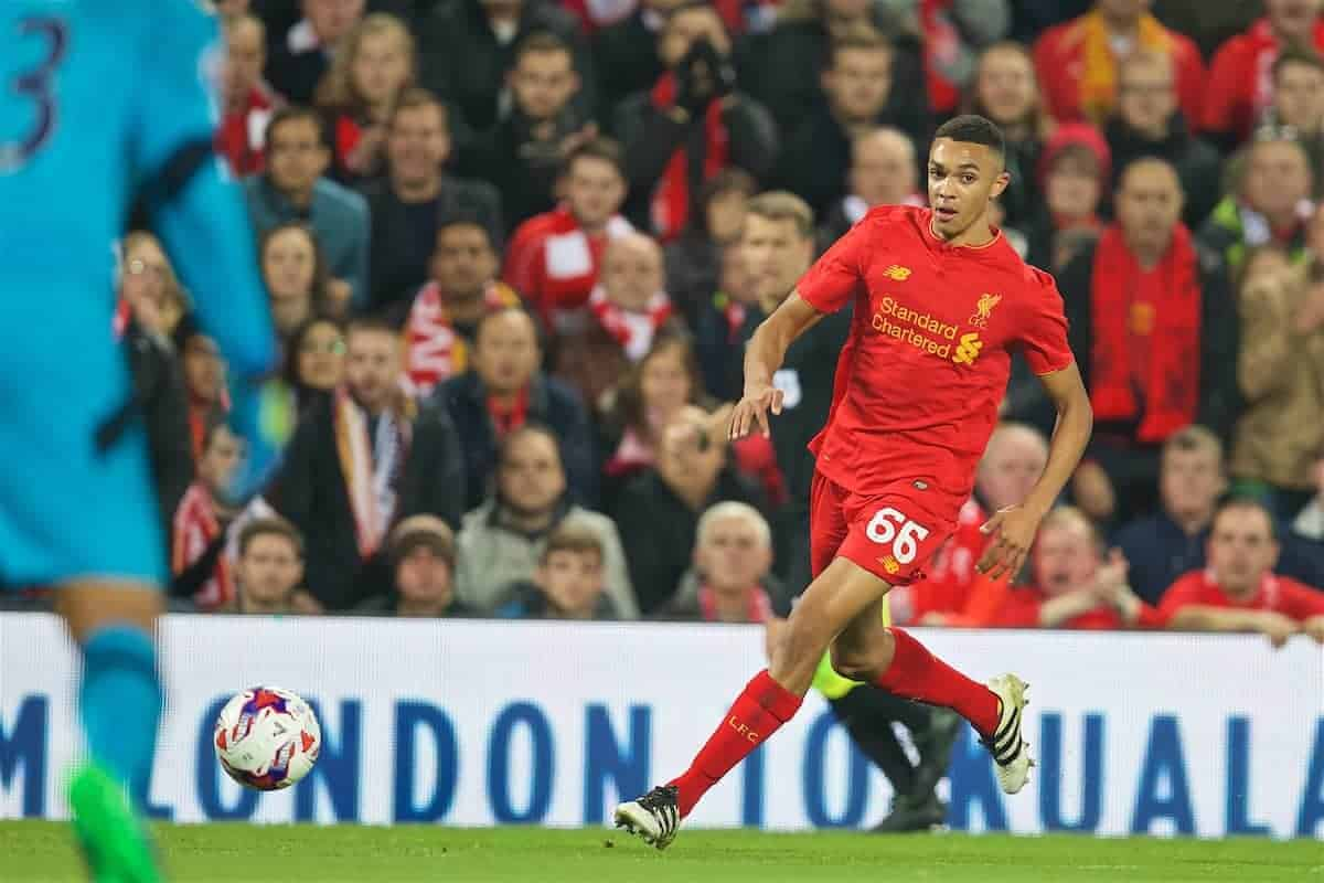 LIVERPOOL, ENGLAND - Tuesday, October 25, 2016: Liverpool's Trent Alexander-Arnold in action against Tottenham Hotspur during the Football League Cup 4th Round match at Anfield. (Pic by David Rawcliffe/Propaganda)