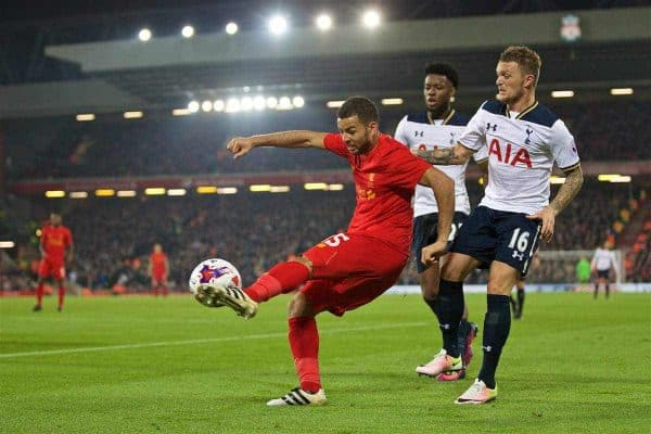 LIVERPOOL, ENGLAND - Tuesday, October 25, 2016: Liverpool's Kevin Stewart in action against Tottenham Hotspur during the Football League Cup 4th Round match at Anfield. (Pic by David Rawcliffe/Propaganda)