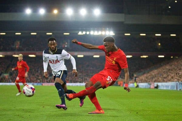 LIVERPOOL, ENGLAND - Tuesday, October 25, 2016: Liverpool's Oviemuno Ejaria in action against Tottenham Hotspur during the Football League Cup 4th Round match at Anfield. (Pic by David Rawcliffe/Propaganda)