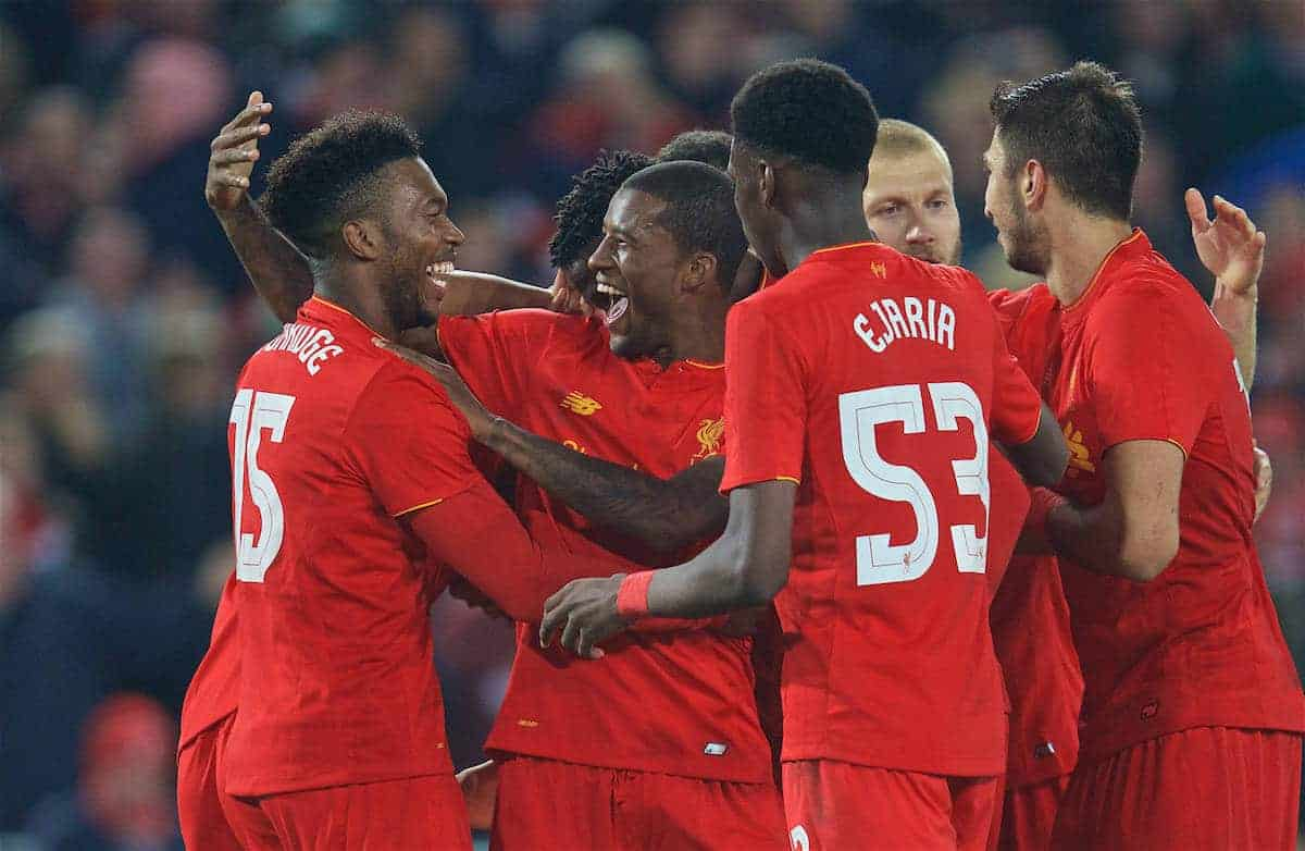 LIVERPOOL, ENGLAND - Tuesday, October 25, 2016: Liverpool's Daniel Sturridge celebrates scoring the second goal against Tottenham Hotspur with team-mate Georginio Wijnaldum during the Football League Cup 4th Round match at Anfield. (Pic by David Rawcliffe/Propaganda)
