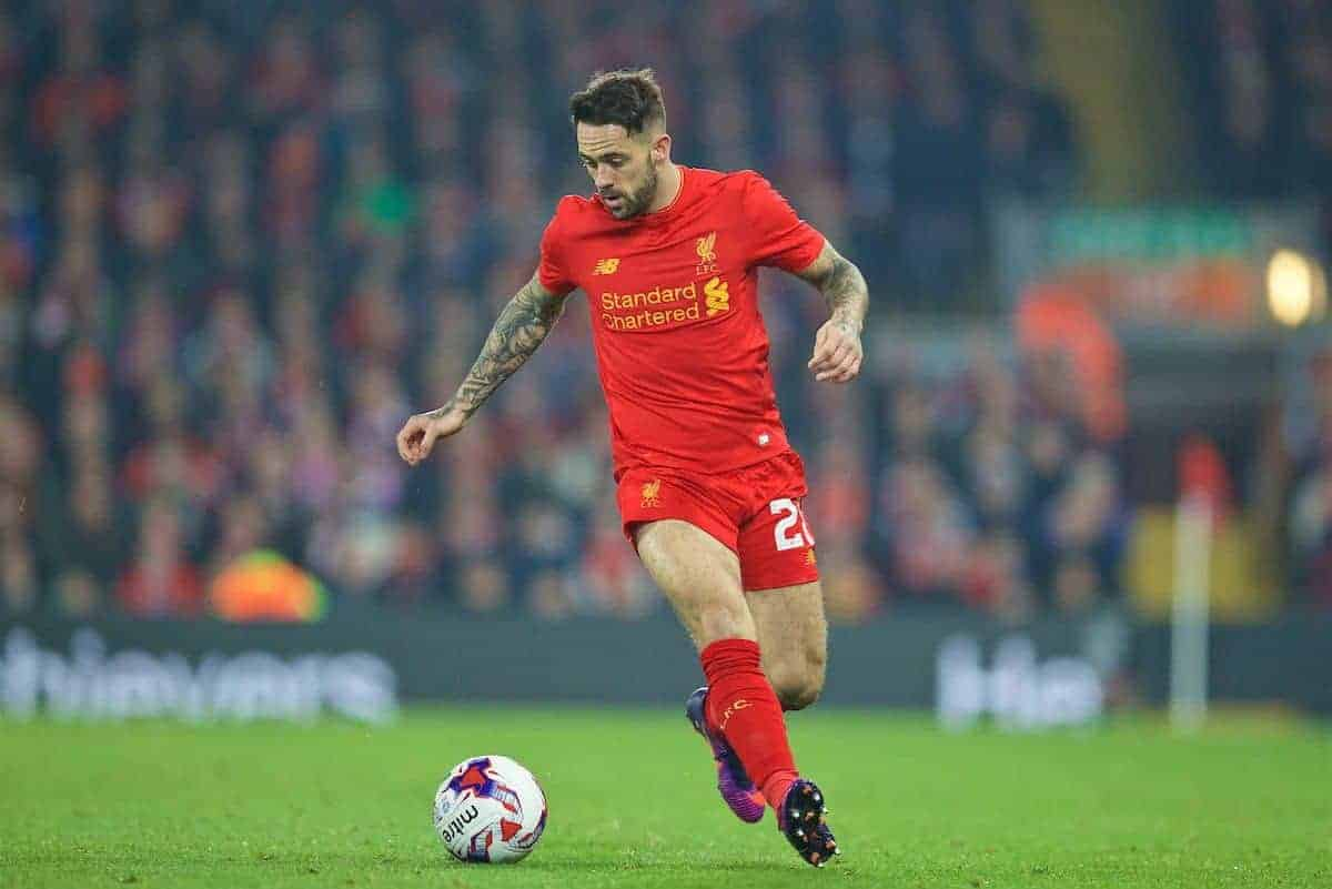 LIVERPOOL, ENGLAND - Tuesday, October 25, 2016: Liverpool's Danny Ings in action against Tottenham Hotspur during the Football League Cup 4th Round match at Anfield. (Pic by David Rawcliffe/Propaganda)