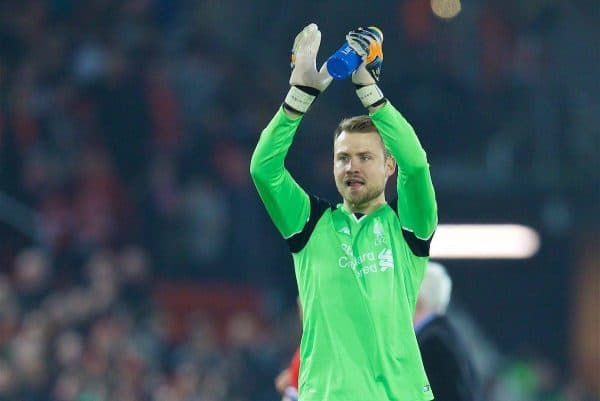 LIVERPOOL, ENGLAND - Tuesday, October 25, 2016: Liverpool's goalkeeper Simon Mignolet applauds the supporters after his side's 2-1 victory over Tottenham Hotspur during the Football League Cup 4th Round match at Anfield. (Pic by David Rawcliffe/Propaganda)