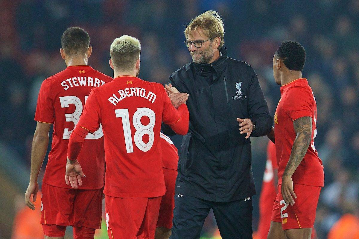LIVERPOOL, ENGLAND - Tuesday, October 25, 2016: Liverpool's manager Jürgen Klopp and Alberto Moreno after the 2-1 victory over Tottenham Hotspur during the Football League Cup 4th Round match at Anfield. (Pic by David Rawcliffe/Propaganda)