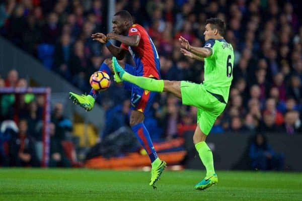 LONDON, ENGLAND - Saturday, October 29, 2016: Liverpool's Dejan Lovren in action against Crystal Palace's Christian Benteke during the FA Premier League match at Selhurst Park. (Pic by David Rawcliffe/Propaganda)