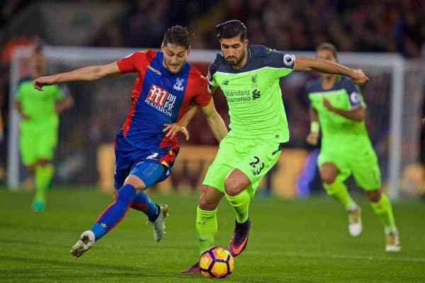 LONDON, ENGLAND - Saturday, October 29, 2016: Liverpool's Emre Can in action against Crystal Palace's Joel Ward during the FA Premier League match at Selhurst Park. (Pic by David Rawcliffe/Propaganda)