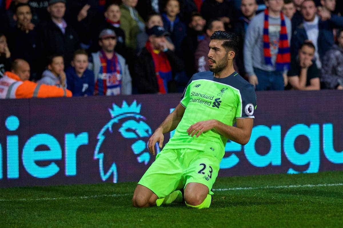 LONDON, ENGLAND - Saturday, October 29, 2016: Liverpool's Emre Can celebrates scoring the first goal against Crystal Palace during the FA Premier League match at Selhurst Park. (Pic by David Rawcliffe/Propaganda)