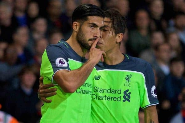 LONDON, ENGLAND - Saturday, October 29, 2016: Liverpool's Emre Can celebrates scoring the first goal against Crystal Palace with team-mate Roberto Firmino during the FA Premier League match at Selhurst Park. (Pic by David Rawcliffe/Propaganda)
