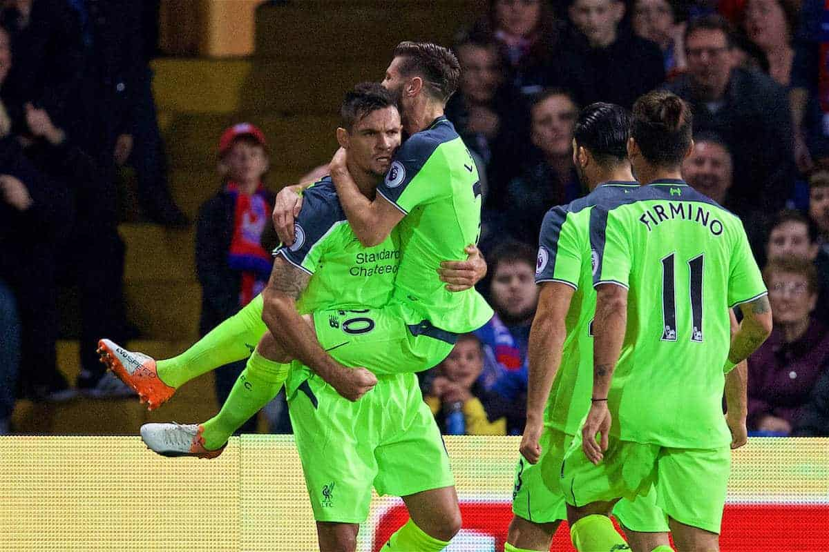 LONDON, ENGLAND - Saturday, October 29, 2016: Liverpool's Dejan Lovren celebrates scoring the second goal against Crystal Palace with team-mate Adam Lallana during the FA Premier League match at Selhurst Park. (Pic by David Rawcliffe/Propaganda)