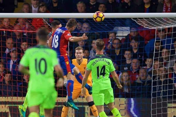 LONDON, ENGLAND - Saturday, October 29, 2016: Crystal Palace's James McArthur scores the second goal against Liverpool's goalkeeper Loris Karius during the FA Premier League match at Selhurst Park. (Pic by David Rawcliffe/Propaganda)
