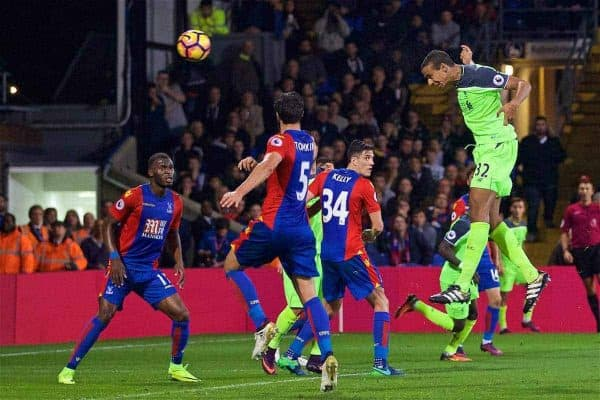 LONDON, ENGLAND - Saturday, October 29, 2016: Liverpool's Joel Matip scores the third goal against Crystal Palace during the FA Premier League match at Selhurst Park. (Pic by David Rawcliffe/Propaganda)