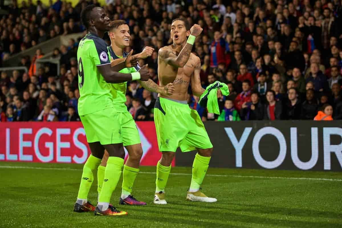 LONDON, ENGLAND - Saturday, October 29, 2016: Liverpool's Roberto Firmino celebrates scoring the fourth goal against Crystal Palace during the FA Premier League match at Selhurst Park. (Pic by David Rawcliffe/Propaganda)