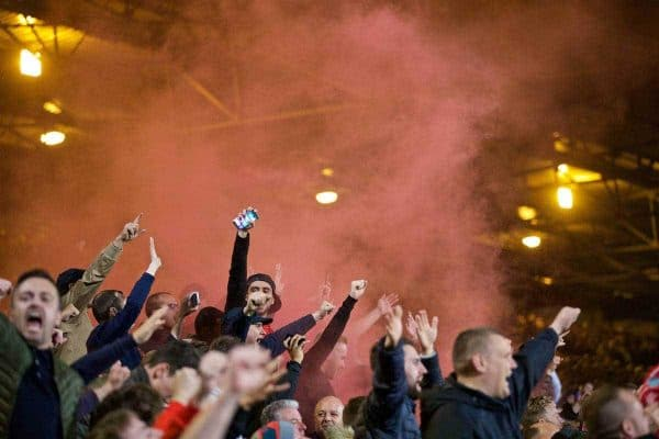LONDON, ENGLAND - Saturday, October 29, 2016: No pyro no party... Liverpool supporters celebrate the fourth goal against Crystal Palace with a red smoke bomb during the FA Premier League match at Selhurst Park. (Pic by David Rawcliffe/Propaganda)
