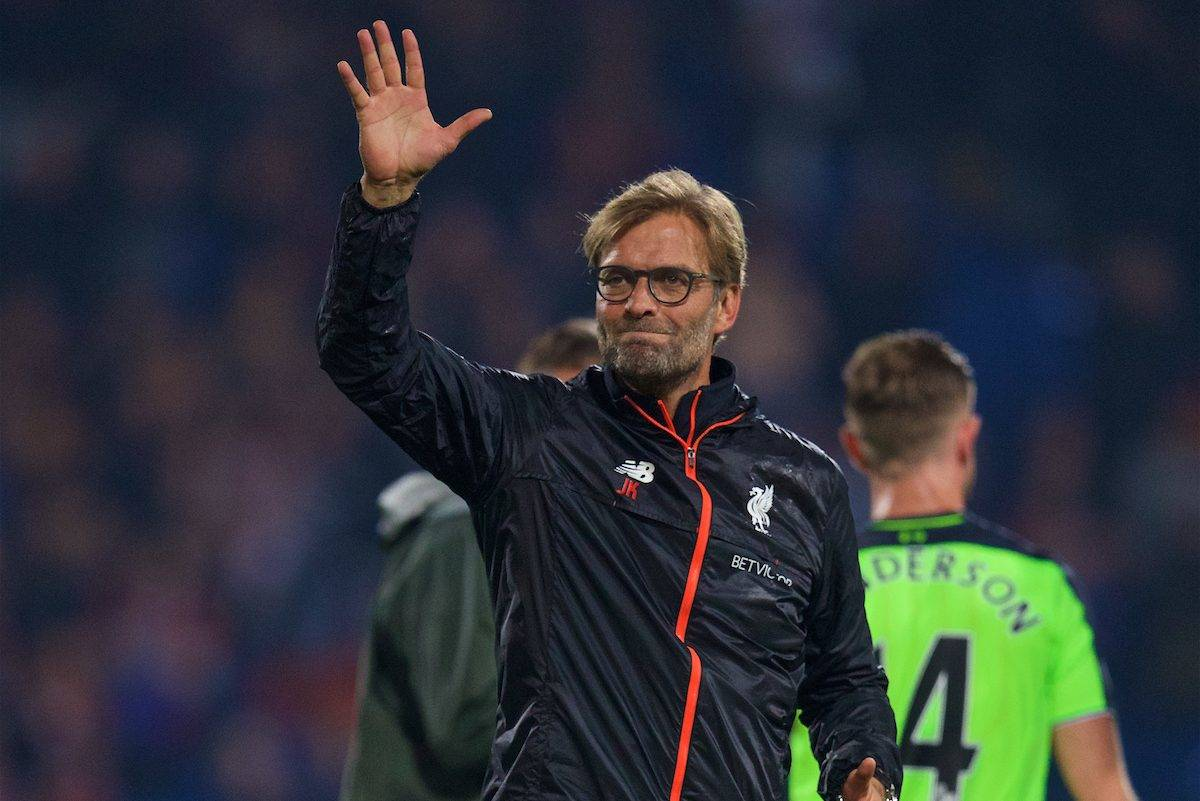 LONDON, ENGLAND - Saturday, October 29, 2016: Liverpool's manager Jürgen Klopp waves to the travelling supporters after his side's 4-2 victory over Crystal Palace during the FA Premier League match at Selhurst Park. (Pic by David Rawcliffe/Propaganda)