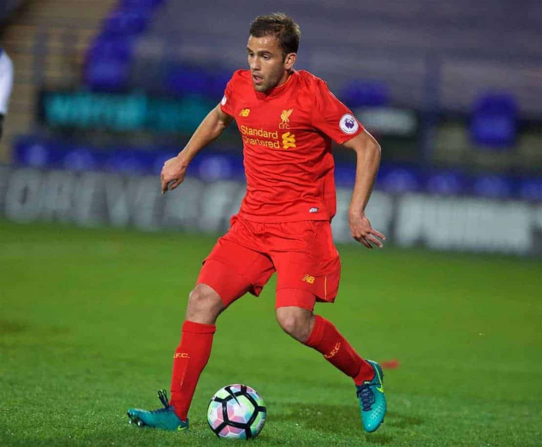 BIRKENHEAD, ENGLAND - Wednesday, November 2, 2016: Liverpool's Juanma in action against FC Porto during the Premier League International Cup match at Prenton Park. (Pic by David Rawcliffe/Propaganda)