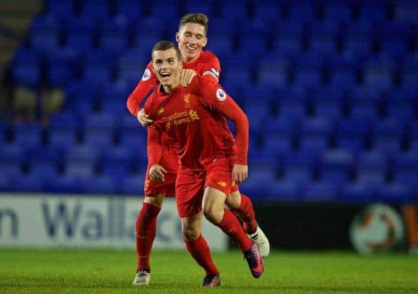BIRKENHEAD, ENGLAND - Wednesday, November 2, 2016: Liverpool's Brooks Lennon celebrates scoring the first equalising goal against FC Porto with team-mate captain Harry Wilson during the Premier League International Cup match at Prenton Park. (Pic by David Rawcliffe/Propaganda)