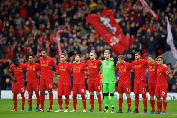 LIVERPOOL, ENGLAND - Sunday, November 6, 2016: Liverpool players stand for a minute's silence to remember those who lost their lives in the Great War, before the FA Premier League match against Watford at Anfield. (Pic by David Rawcliffe/Propaganda)
