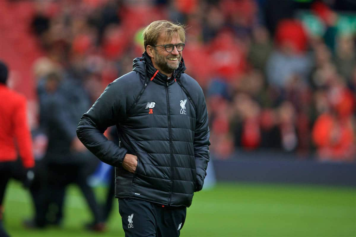 LIVERPOOL, ENGLAND - Sunday, November 6, 2016: Liverpool's manager Jürgen Klopp before the FA Premier League match against Watford at Anfield. (Pic by David Rawcliffe/Propaganda)
