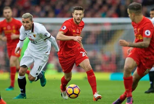 LIVERPOOL, ENGLAND - Sunday, November 6, 2016: Liverpool's Adam Lallana in action against Watford during the FA Premier League match at Anfield. (Pic by David Rawcliffe/Propaganda)