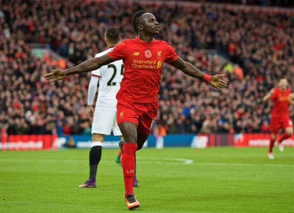 LIVERPOOL, ENGLAND - Sunday, November 6, 2016: Liverpool's Sadio Mane celebrates scoring the first goal against Watford during the FA Premier League match at Anfield. (Pic by David Rawcliffe/Propaganda)