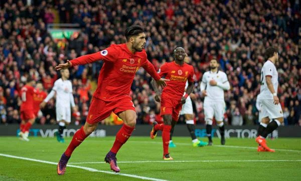 LIVERPOOL, ENGLAND - Sunday, November 6, 2016: Liverpool's Emre Can celebrates scoring the third goal against Watford during the FA Premier League match at Anfield. (Pic by David Rawcliffe/Propaganda)