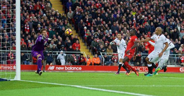 LIVERPOOL, ENGLAND - Sunday, November 6, 2016: Liverpool's xSadio Mane scores the fifth goal against Watford during the FA Premier League match at Anfield. (Pic by David Rawcliffe/Propaganda)