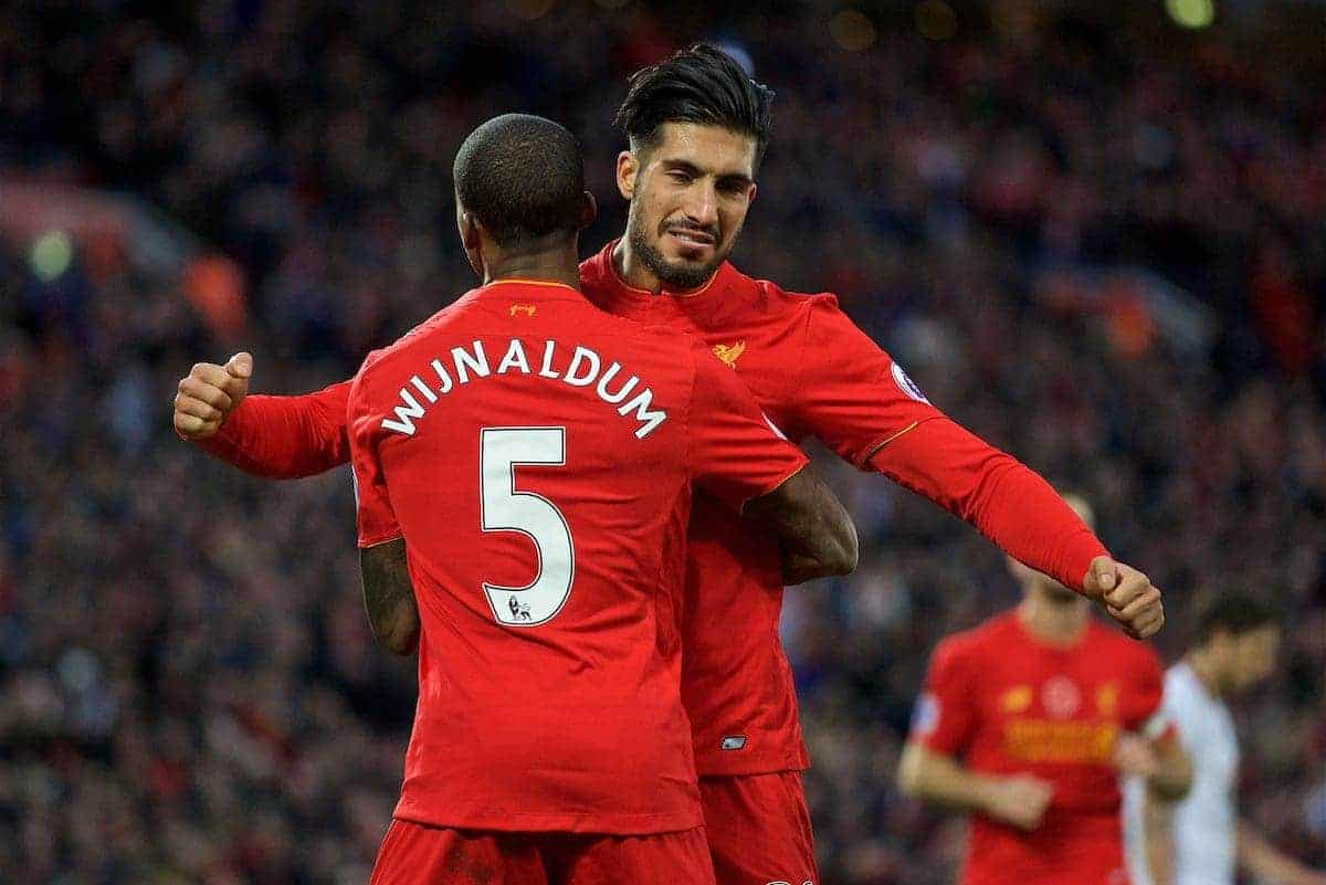LIVERPOOL, ENGLAND - Sunday, November 6, 2016: Liverpool's Georginio Wijnaldum celebrates scoring the sixth goal against Watford with team-mate Emre Can during the FA Premier League match at Anfield. (Pic by David Rawcliffe/Propaganda)