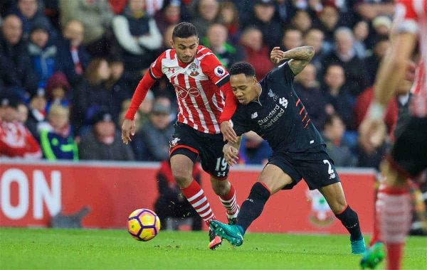 SOUTHAMPTON, ENGLAND - Saturday, November 19, 2016: Liverpool's Nathaniel Clyne in action against Southampton during the FA Premier League match at St. Mary's Stadium. (Pic by David Rawcliffe/Propaganda)