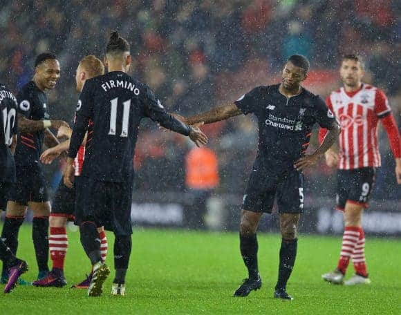 SOUTHAMPTON, ENGLAND - Saturday, November 19, 2016: Liverpool's Roberto Firmino and Georginio Wijnaldum look dejected after the goal-less draw with Southampton during the FA Premier League match at St. Mary's Stadium. (Pic by David Rawcliffe/Propaganda)