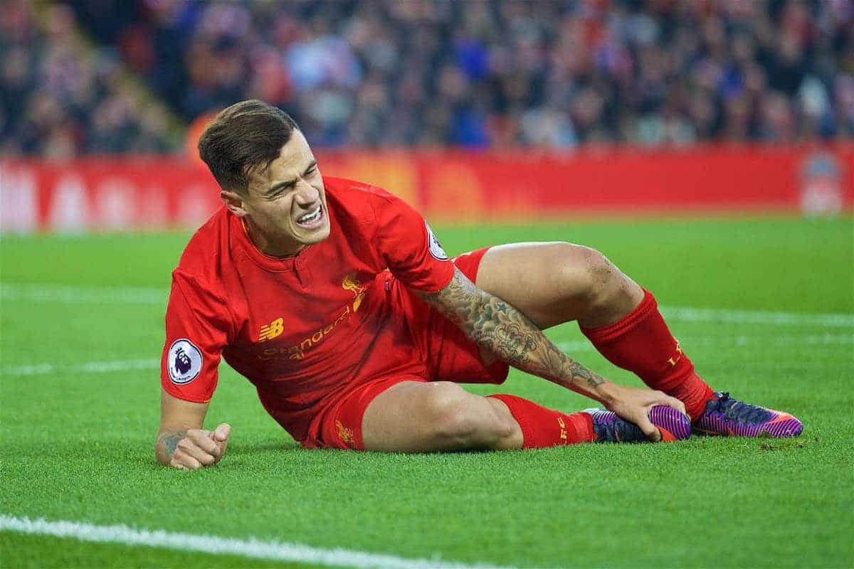 Image result for philippe coutinho news 2016 injured