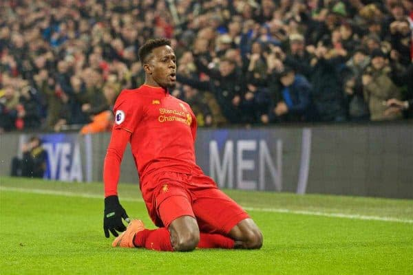 Liverpool's Divock Origi celebrates scoring the first goal againstSunderland during the FA Premier League match at Anfield. (Pic by David Rawcliffe/Propaganda)