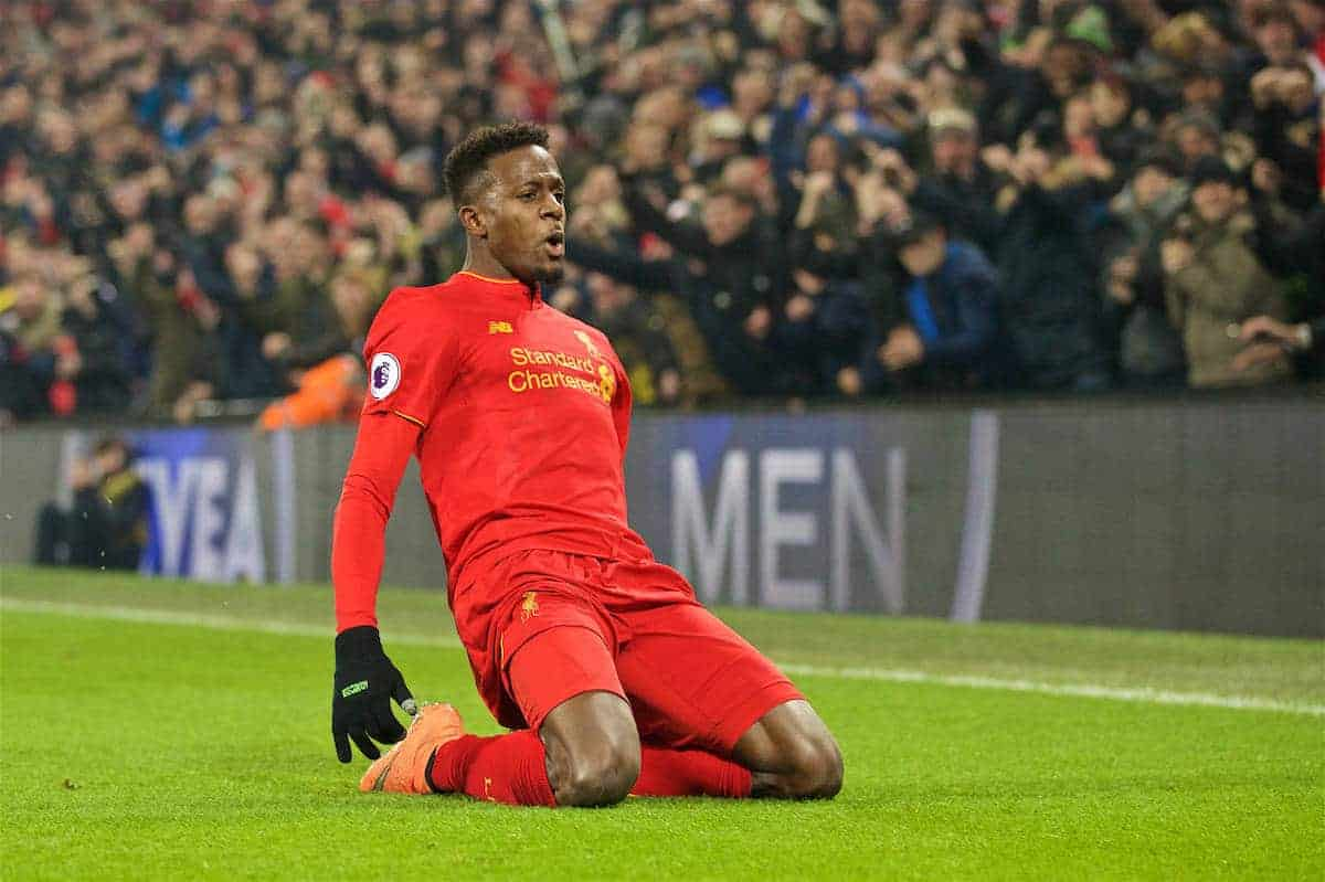 LIVERPOOL, ENGLAND - Saturday, November 26, 2016: Liverpool's Divock Origi celebrates scoring the first goal againstSunderland during the FA Premier League match at Anfield. (Pic by David Rawcliffe/Propaganda)