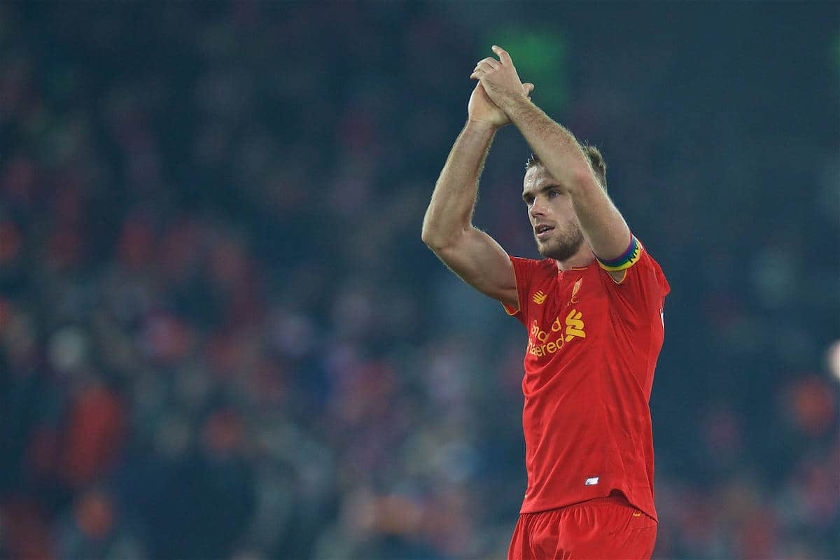 LIVERPOOL, ENGLAND - Saturday, November 26, 2016: Liverpool's captain Jordan Henderson applauds the supporters after the 2-0 victory over Sunderland during the FA Premier League match at Anfield. (Pic by David Rawcliffe/Propaganda)