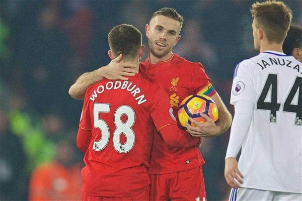 LIVERPOOL, ENGLAND - Saturday, November 26, 2016: Liverpool's Welsh youngster Ben Woodburn is congratulated by captain Jordan Henderson after making his debut against Sunderland during the FA Premier League match at Anfield. (Pic by David Rawcliffe/Propaganda)