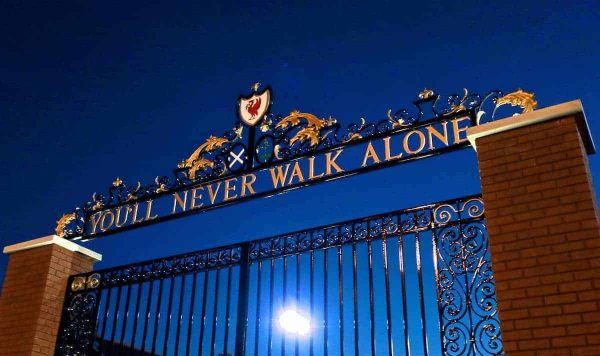 "LIVERPOOL, ENGLAND - Tuesday, November 29, 2016: The Shankly Gates, featuring the club's anthem ""You'll Never Walk Alone"" outside Liverpool's Anfield Stadium before the Football League Cup Quarter-Final match against Leeds United. (Pic by David Rawcliffe/Propaganda)"