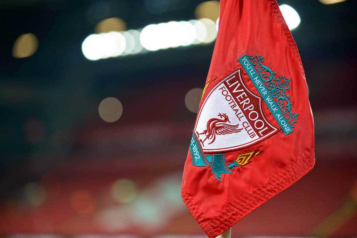 LIVERPOOL, ENGLAND - Tuesday, November 29, 2016: A red corner flag at Anfield ahead of the Football League Cup Quarter-Final match between Liverpool and Leeds United. (Pic by David Rawcliffe/Propaganda)