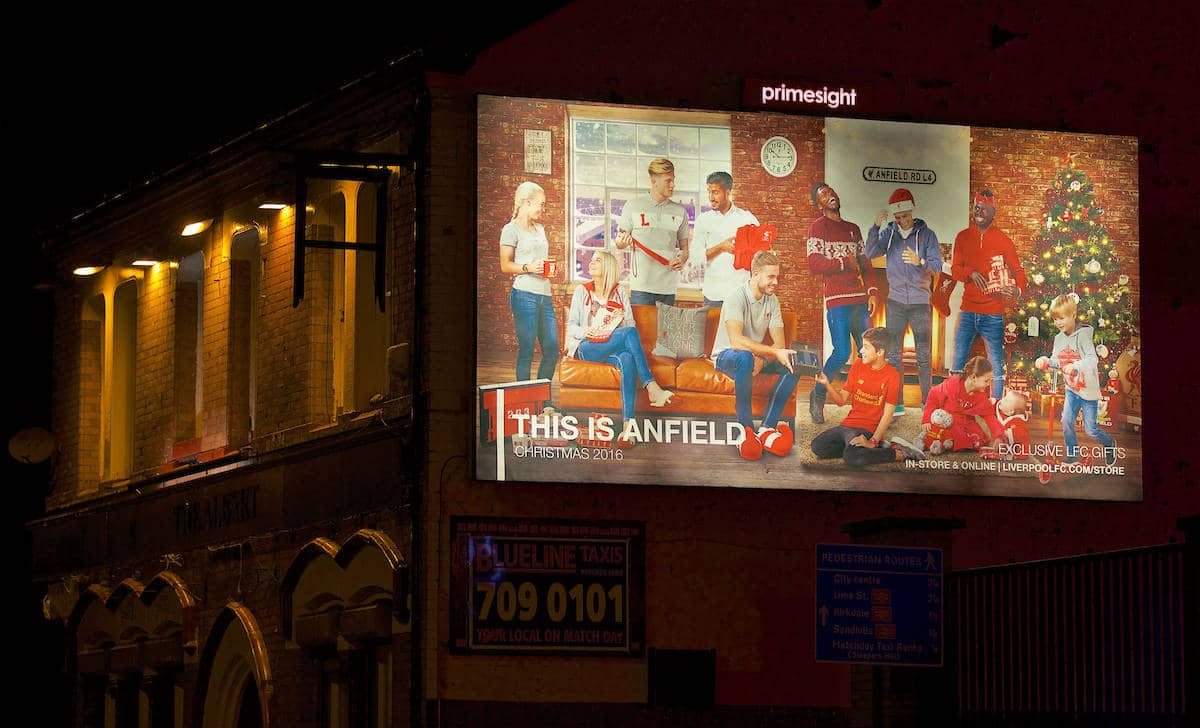 LIVERPOOL, ENGLAND - Tuesday, November 29, 2016: A Liverpool merchandise Christmas advert on the side of the Albert pub outside Anfield ahead of the Football League Cup Quarter-Final match between Liverpool and Leeds United. (Pic by David Rawcliffe/Propaganda)