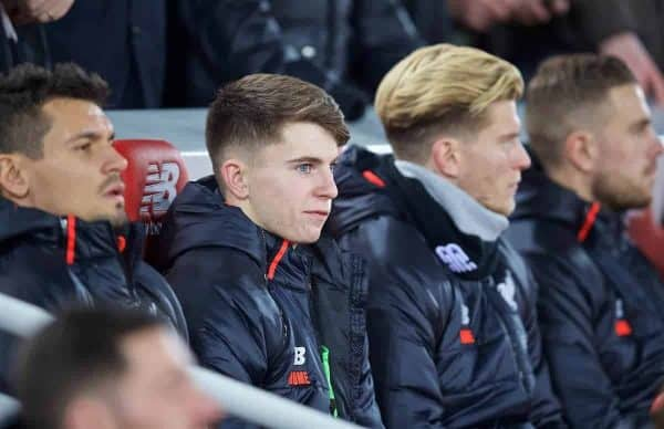 LIVERPOOL, ENGLAND - Tuesday, November 29, 2016: Liverpool's substitute Ben Woodburn during the Football League Cup Quarter-Final match between Liverpool and Leeds United at Anfield. (Pic by David Rawcliffe/Propaganda)