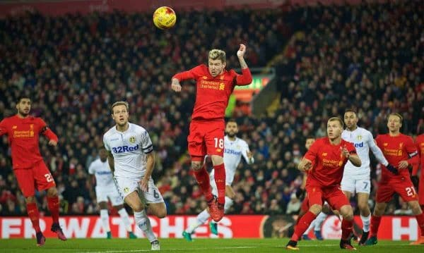 LIVERPOOL, ENGLAND - Tuesday, November 29, 2016: Liverpool's Alberto Moreno in action against Leeds United during the Football League Cup Quarter-Final match at Anfield. (Pic by David Rawcliffe/Propaganda)